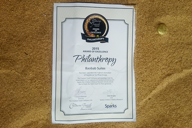 PressDiplomaPhilanthropy 1 - THE COUTURE TRAVEL COMPANY AWARD OF EXCELLENCE 2015- PHILANTHROPY